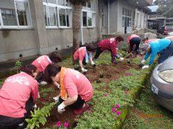 校区の皆様で花の苗を植えた♪